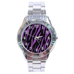 Skin3 Black Marble & Purple Denim (r) Stainless Steel Analogue Watch by trendistuff