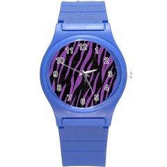 Skin3 Black Marble & Purple Denim (r) Round Plastic Sport Watch (s) by trendistuff