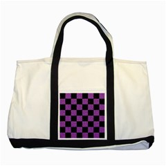 Square1 Black Marble & Purple Denim Two Tone Tote Bag by trendistuff