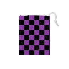 Square1 Black Marble & Purple Denim Drawstring Pouches (small)  by trendistuff