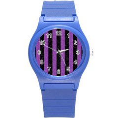 Stripes1 Black Marble & Purple Denim Round Plastic Sport Watch (s) by trendistuff