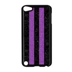 Stripes1 Black Marble & Purple Denim Apple Ipod Touch 5 Case (black) by trendistuff