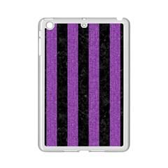 Stripes1 Black Marble & Purple Denim Ipad Mini 2 Enamel Coated Cases by trendistuff