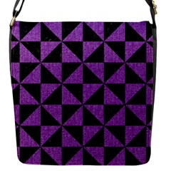 Triangle1 Black Marble & Purple Denim Flap Messenger Bag (s) by trendistuff