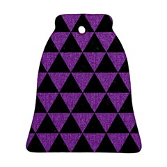 Triangle3 Black Marble & Purple Denim Bell Ornament (two Sides) by trendistuff