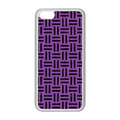 Woven1 Black Marble & Purple Denim Apple Iphone 5c Seamless Case (white) by trendistuff