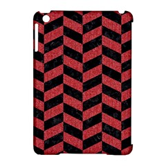 Chevron1 Black Marble & Red Denim Apple Ipad Mini Hardshell Case (compatible With Smart Cover) by trendistuff