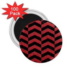 Chevron2 Black Marble & Red Denim 2 25  Magnets (100 Pack)  by trendistuff