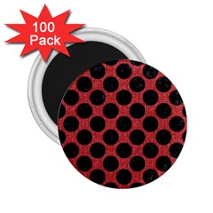 Circles2 Black Marble & Red Denim 2 25  Magnets (100 Pack)  by trendistuff