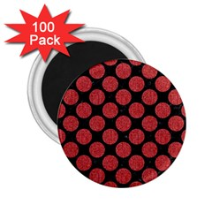 Circles2 Black Marble & Red Denim (r) 2 25  Magnets (100 Pack)  by trendistuff