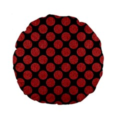 Circles2 Black Marble & Red Denim (r) Standard 15  Premium Flano Round Cushions by trendistuff