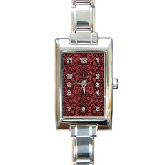 Damask2 Black Marble & Red Denim Rectangle Italian Charm Watch by trendistuff