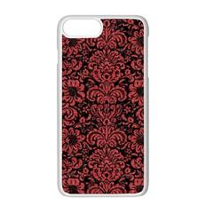 Damask2 Black Marble & Red Denim (r) Apple Iphone 8 Plus Seamless Case (white) by trendistuff