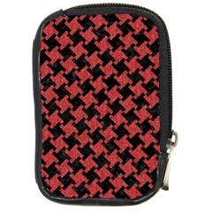 Houndstooth2 Black Marble & Red Denim Compact Camera Cases by trendistuff