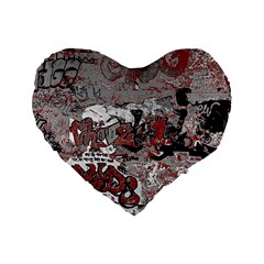 Graffiti Standard 16  Premium Flano Heart Shape Cushions by ValentinaDesign