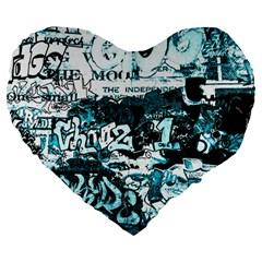 Graffiti Large 19  Premium Heart Shape Cushions by ValentinaDesign