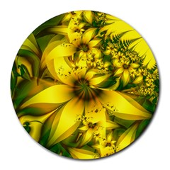 Beautiful Yellow Green Meadow Of Daffodil Flowers Round Mousepads by beautifulfractals