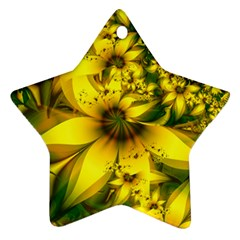 Beautiful Yellow Green Meadow Of Daffodil Flowers Ornament (star) by beautifulfractals