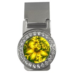 Beautiful Yellow Green Meadow Of Daffodil Flowers Money Clips (cz)  by beautifulfractals