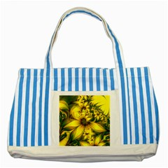 Beautiful Yellow Green Meadow Of Daffodil Flowers Striped Blue Tote Bag by beautifulfractals