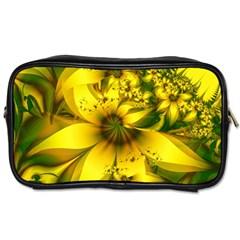 Beautiful Yellow Green Meadow Of Daffodil Flowers Toiletries Bags by beautifulfractals