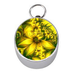 Beautiful Yellow Green Meadow Of Daffodil Flowers Mini Silver Compasses by jayaprime