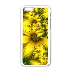 Beautiful Yellow Green Meadow Of Daffodil Flowers Apple Iphone 6/6s White Enamel Case by beautifulfractals