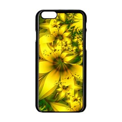 Beautiful Yellow Green Meadow Of Daffodil Flowers Apple Iphone 6/6s Black Enamel Case by beautifulfractals