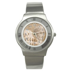 Colosseum Rome Caesar Background Stainless Steel Watch by Celenk