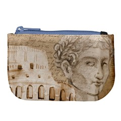 Colosseum Rome Caesar Background Large Coin Purse by Celenk