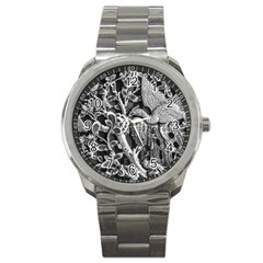 Black And White Pattern Texture Sport Metal Watch by Celenk