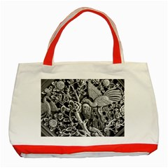 Black And White Pattern Texture Classic Tote Bag (red) by Celenk