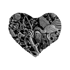 Black And White Pattern Texture Standard 16  Premium Flano Heart Shape Cushions by Celenk
