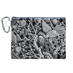 Black And White Pattern Texture Canvas Cosmetic Bag (xl) by Celenk