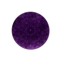 Background Purple Mandala Lilac Rubber Round Coaster (4 Pack)  by Celenk