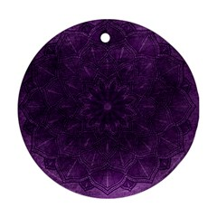 Background Purple Mandala Lilac Round Ornament (two Sides) by Celenk