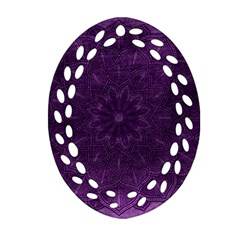 Background Purple Mandala Lilac Oval Filigree Ornament (two Sides) by Celenk