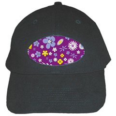 Floral Flowers Black Cap by Celenk
