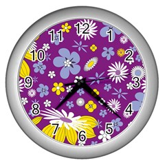 Floral Flowers Wall Clocks (silver)  by Celenk