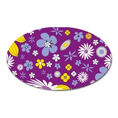 Floral Flowers Oval Magnet by Celenk