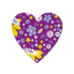 Floral Flowers Heart Magnet by Celenk
