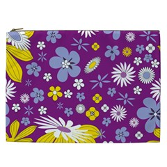 Floral Flowers Cosmetic Bag (xxl)  by Celenk