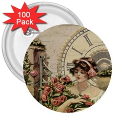 French Vintage Girl Roses Clock 3  Buttons (100 Pack)  by Celenk