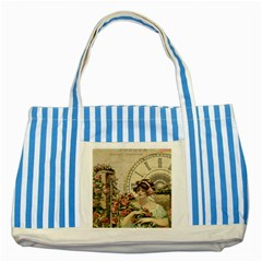 French Vintage Girl Roses Clock Striped Blue Tote Bag by Celenk