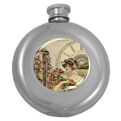 French Vintage Girl Roses Clock Round Hip Flask (5 Oz) by Celenk