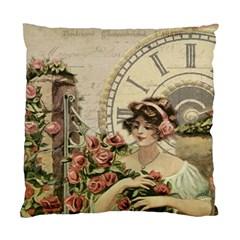 French Vintage Girl Roses Clock Standard Cushion Case (one Side) by Celenk