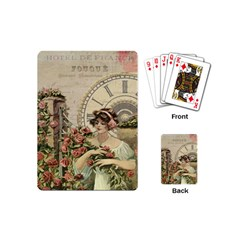 French Vintage Girl Roses Clock Playing Cards (mini)  by Celenk