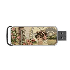 French Vintage Girl Roses Clock Portable Usb Flash (two Sides) by Celenk