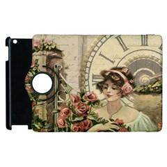 French Vintage Girl Roses Clock Apple Ipad 3/4 Flip 360 Case by Celenk