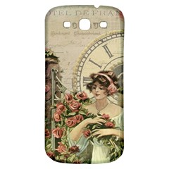 French Vintage Girl Roses Clock Samsung Galaxy S3 S Iii Classic Hardshell Back Case by Celenk